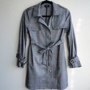 Bardot Junior Gray Checked Trench Coat Jacket 12